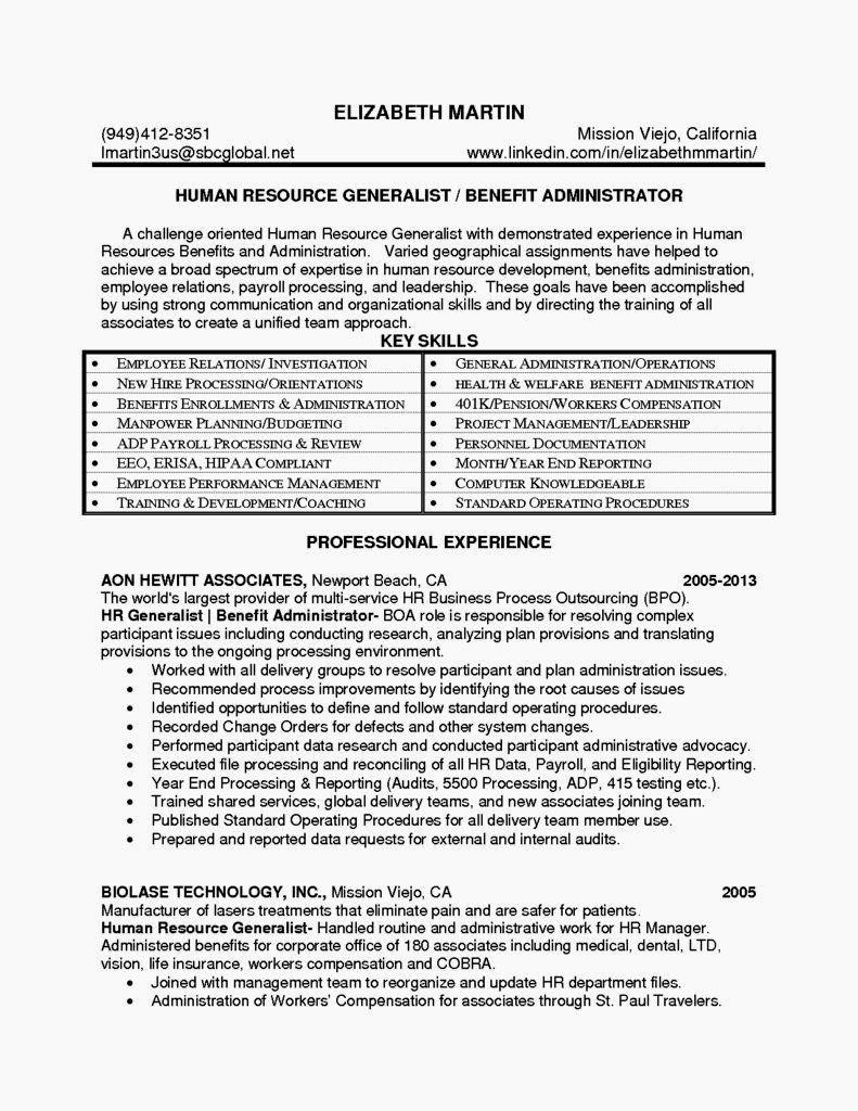 Entry Level Hr Generalist Resume