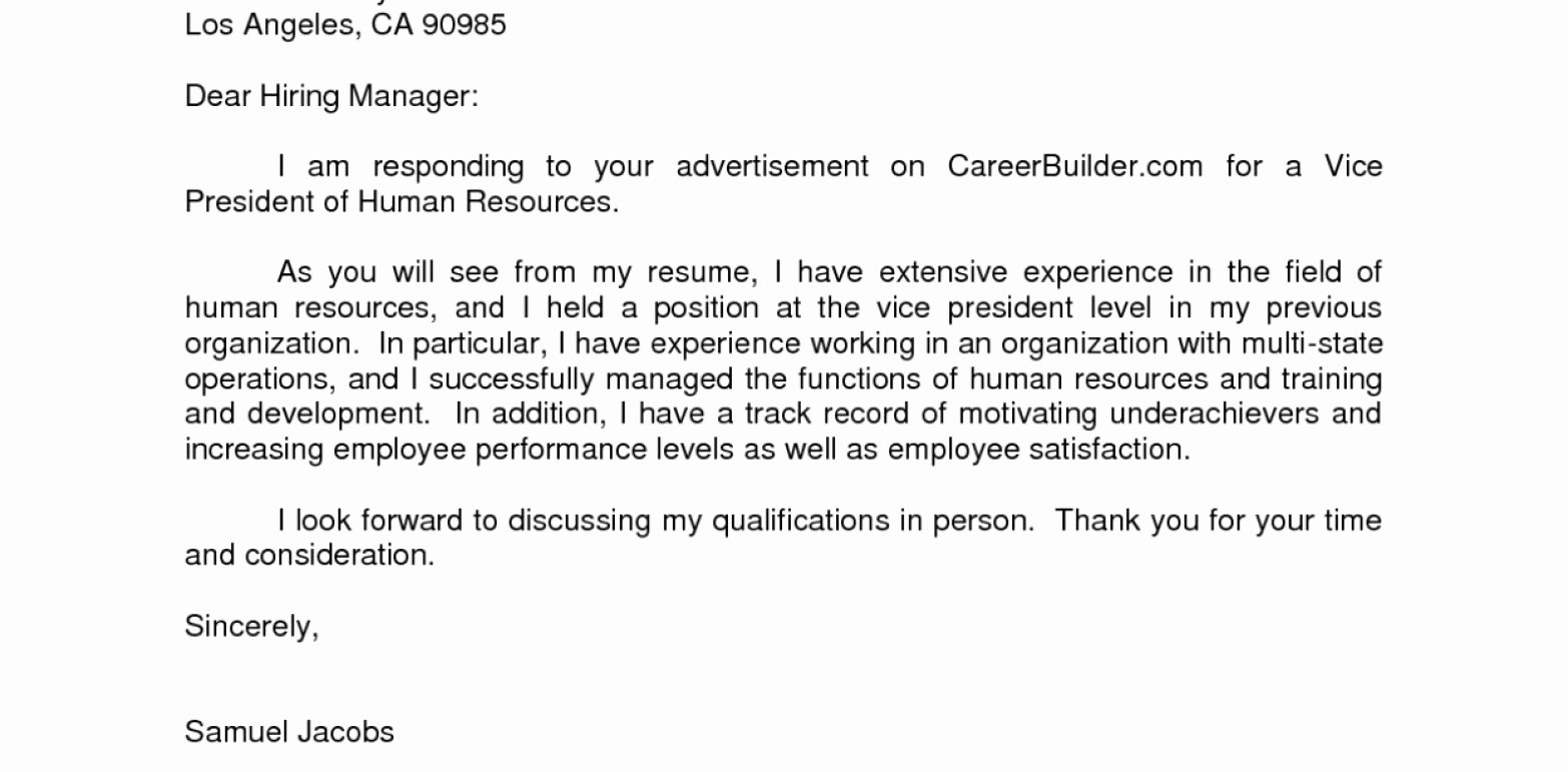 Entry Level Human Resources Job Cover Letter