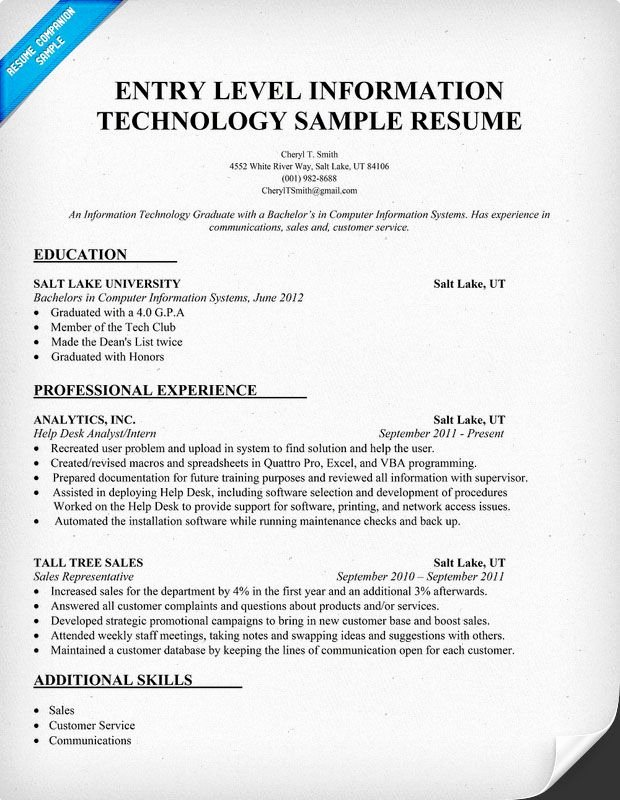 Entry Level Information Technology Resume Sample