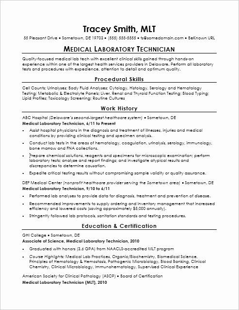 Entry Level Lab Technician Resume Sample