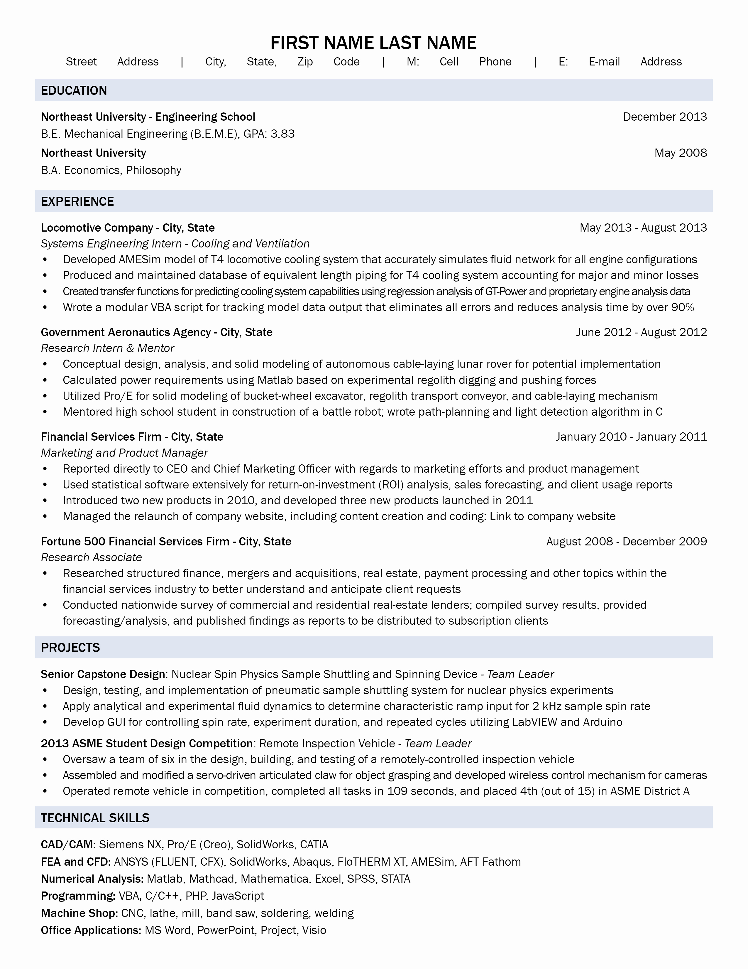 Entry Level Mechanical Engineer with Previous Career