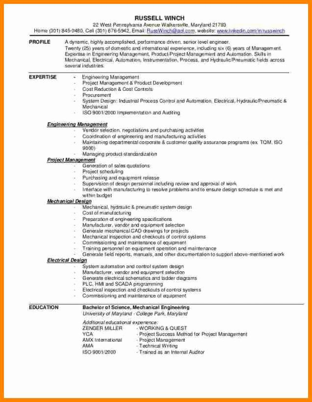 Entry Level Mechanical Engineering Resume Entry Level