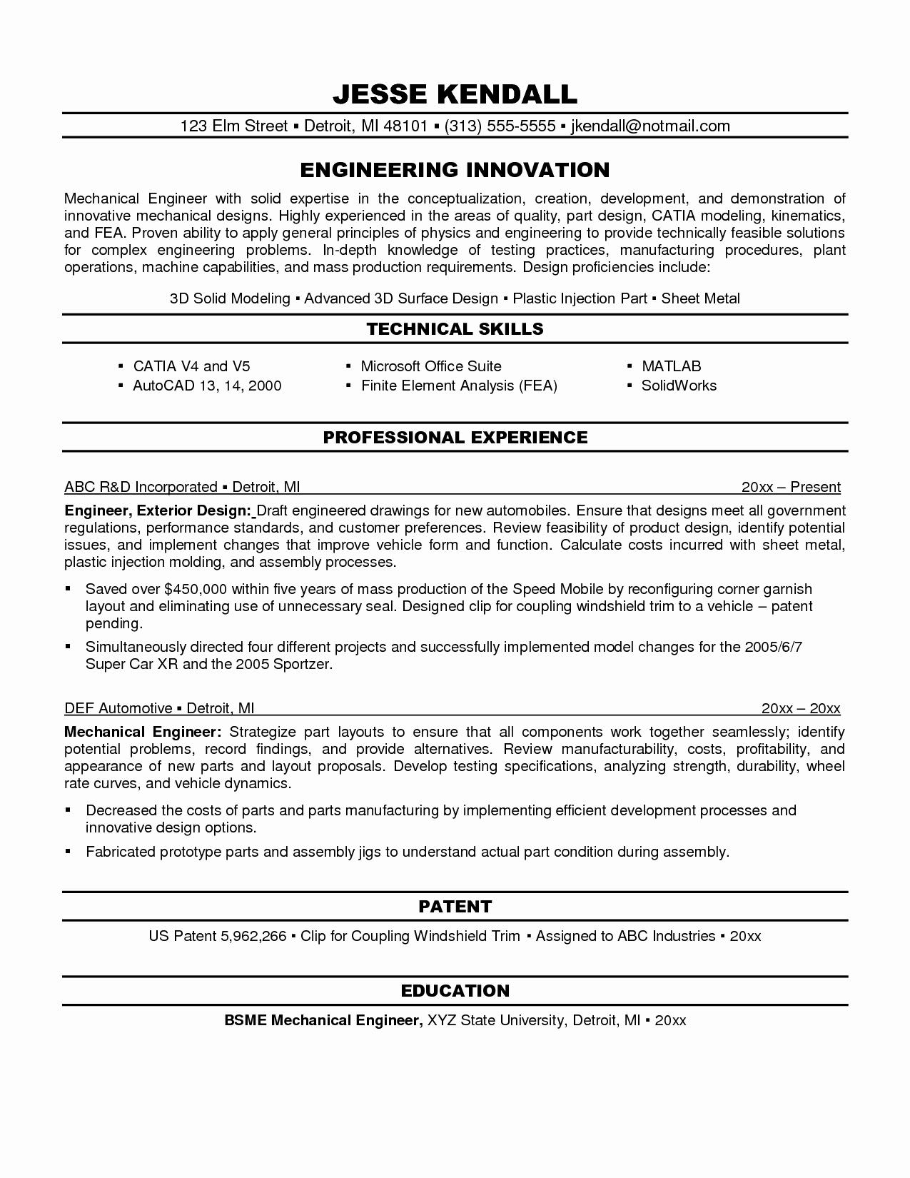 Entry Level Mechanical Engineering Resume Filename