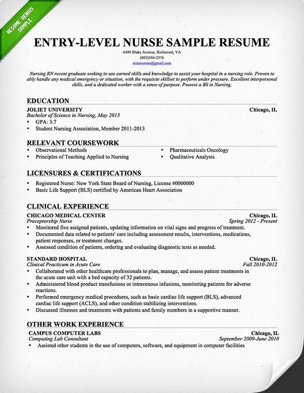 Entry Level Nurse Resume Sample