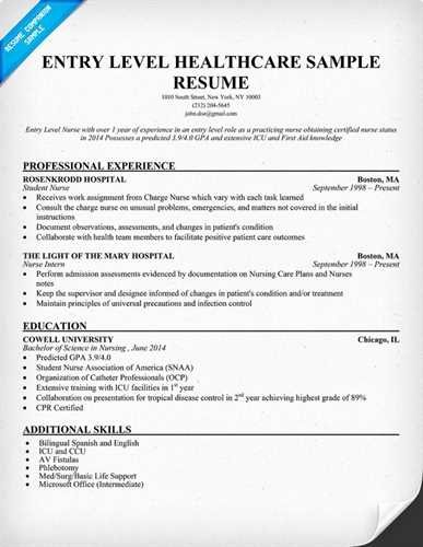 Entry Level Nursing Resume Objective Statement