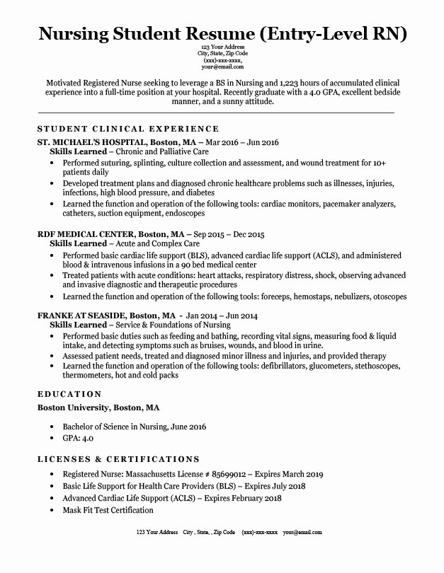Entry Level Nursing Student Resume Sample & Tips