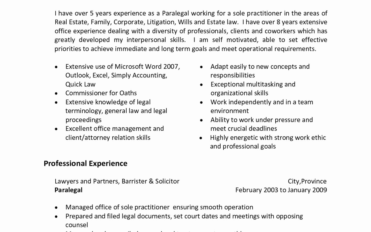 Entry Level Paralegal Resume