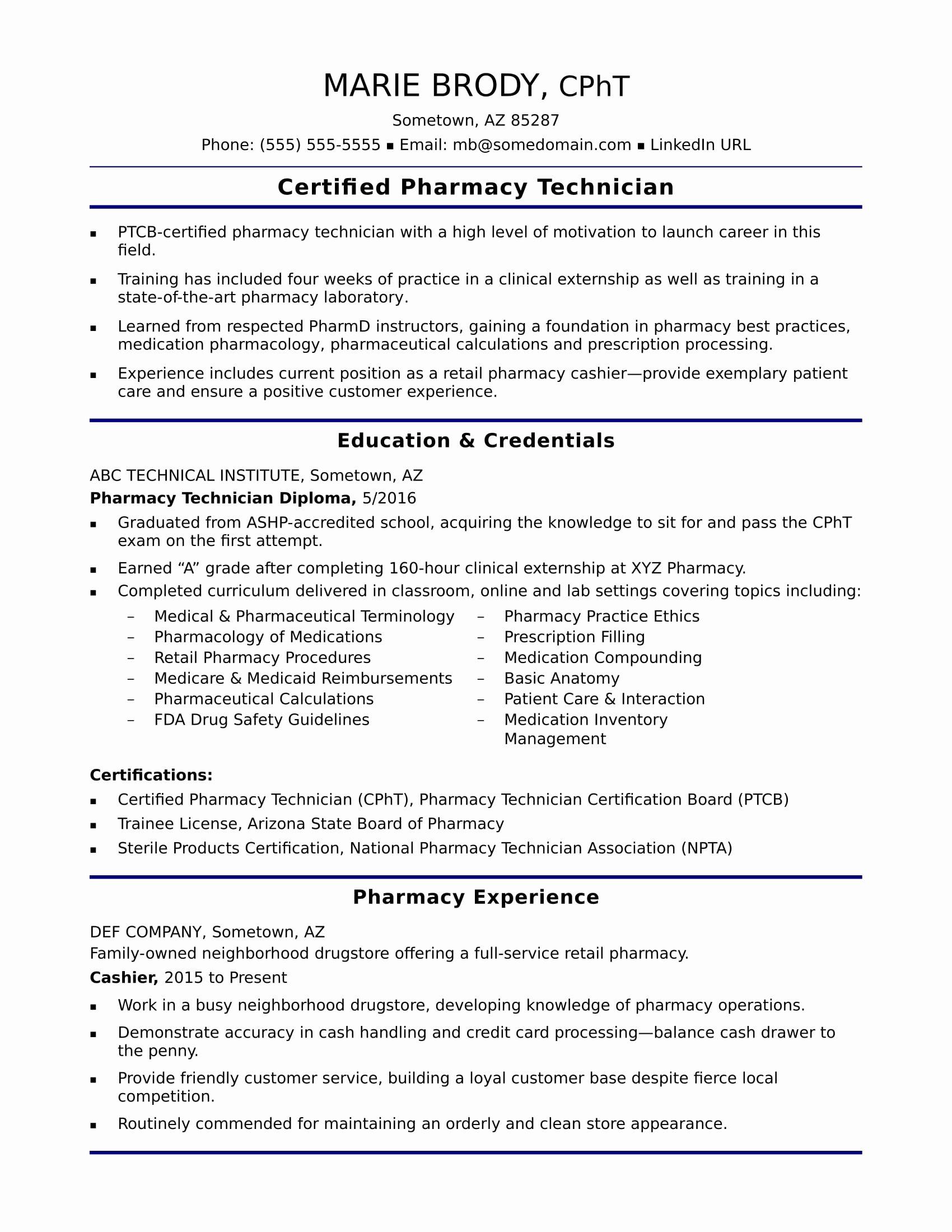 Entry Level Pharmacy Technician Resume Sample