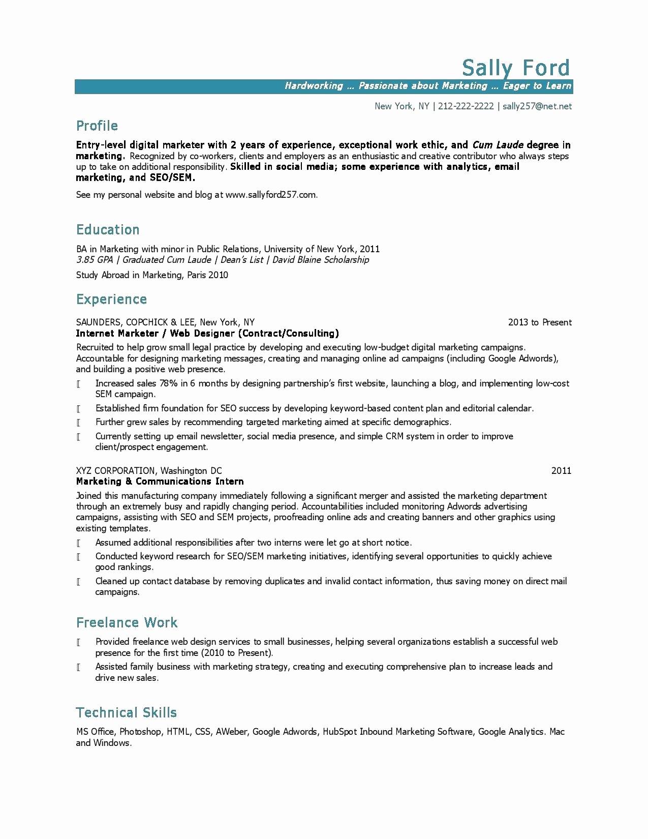 Entry Level Public Relations Resume Talktomartyb