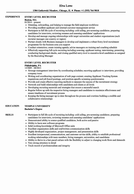 Entry Level Recruiter Resume Samples