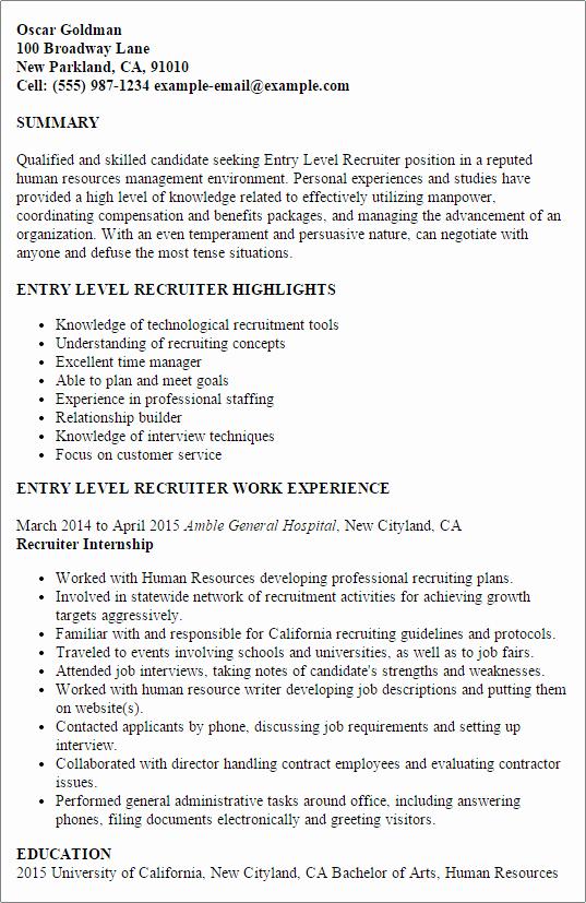 Entry Level Recruiter Resume Template — Best Design & Tips