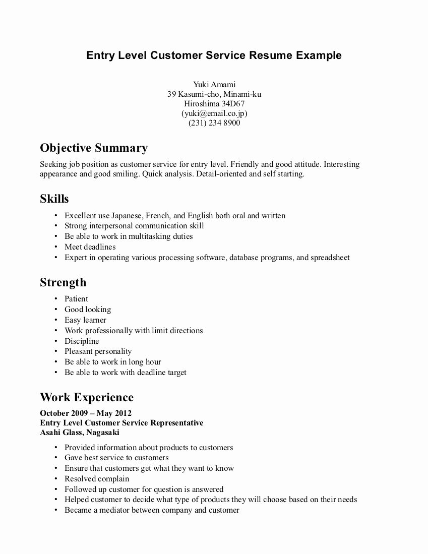 Entry Level Resume Objective Customer Service – Perfect