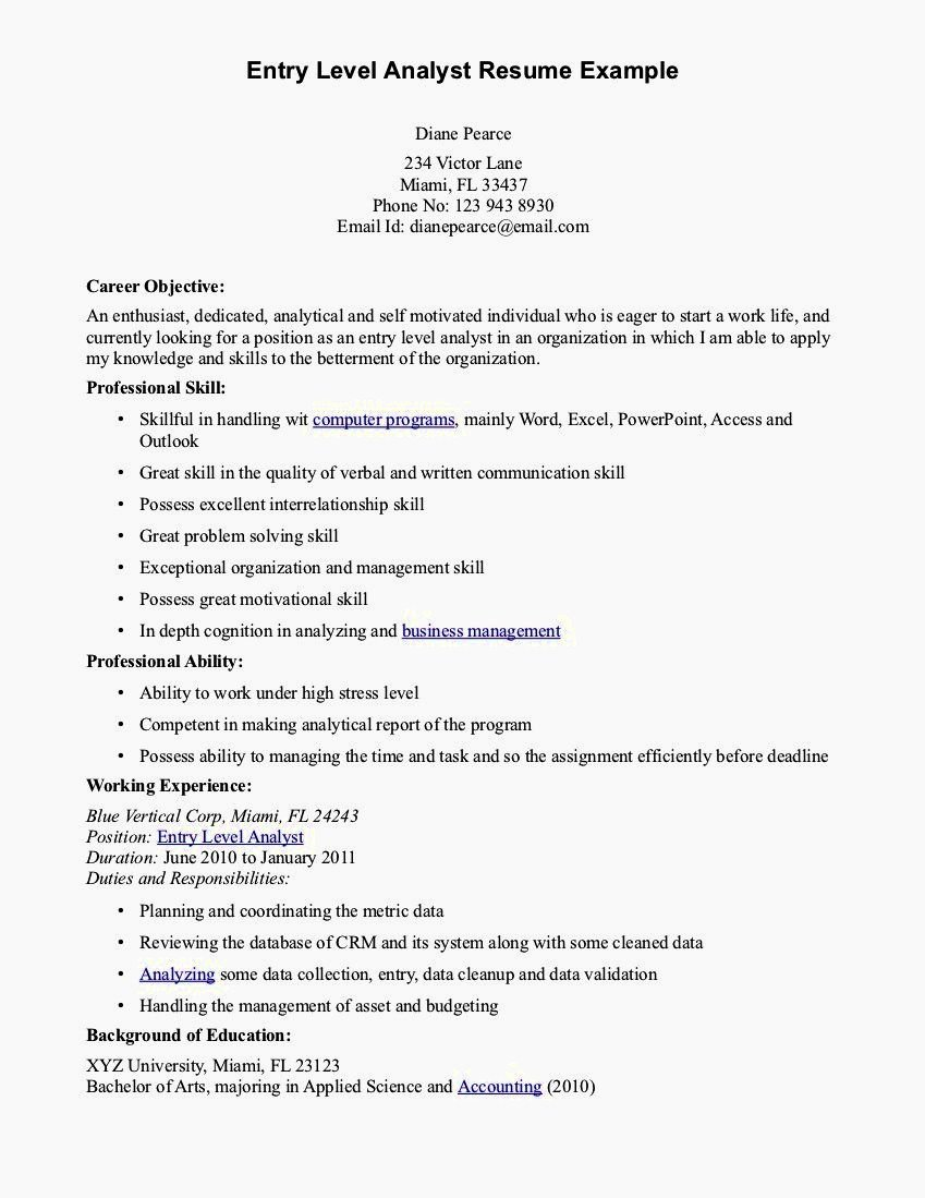 Entry Level Resume Objective Resume Template