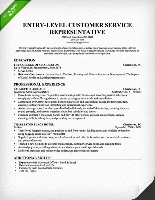 Entry Level Resume Objectives Examples – Job Resume Example
