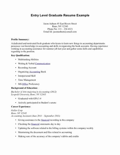 Entry Level Resume Summary Examples Related