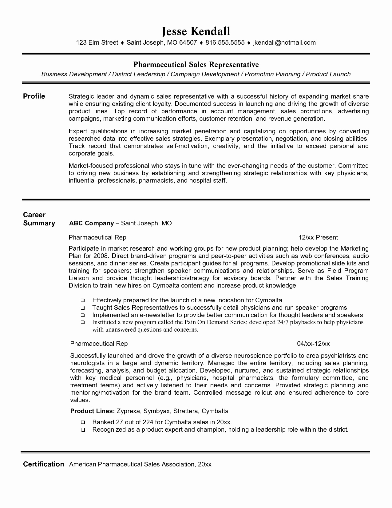 Entry Level Retail Sales Resume