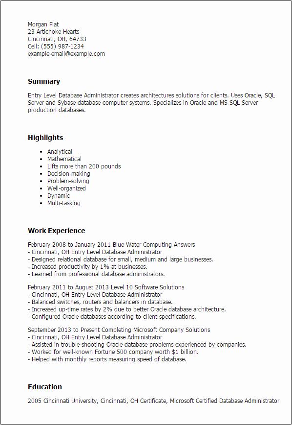 Entry Level Sql Developer Resume Sample