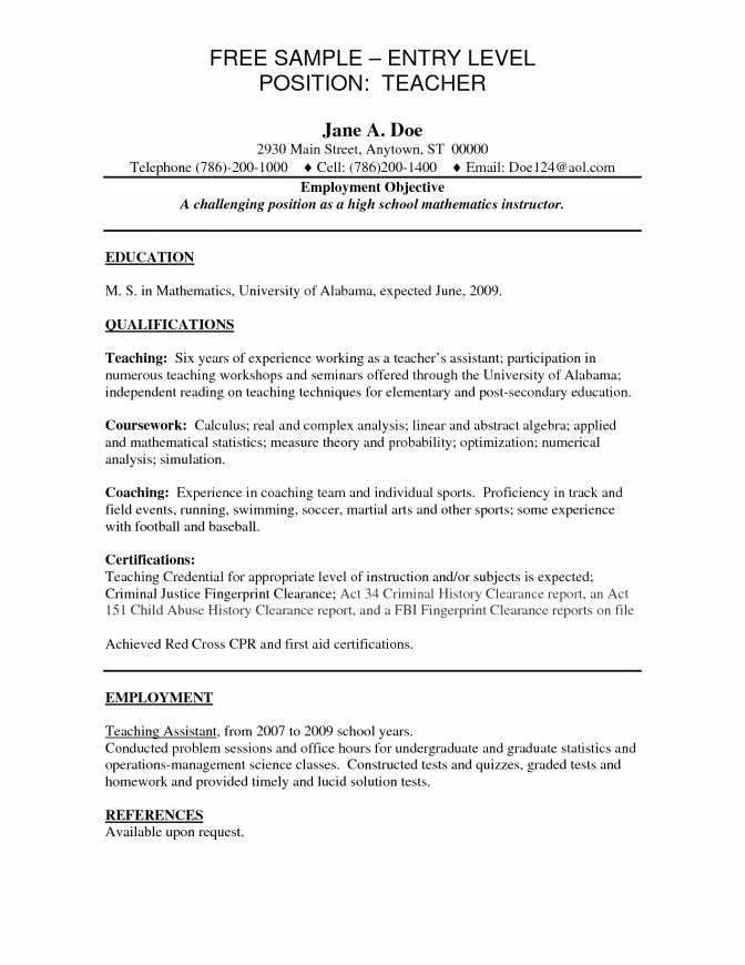 Entry Level Teacher Resume Best Resume Collection