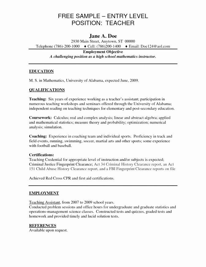 Entry Level Teacher Resume Best Resume Collection