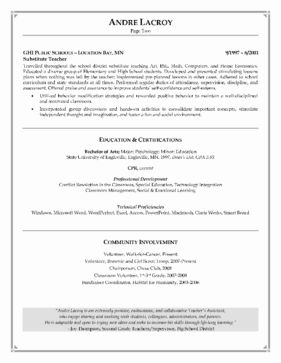 Entry Level Teacher Resume format