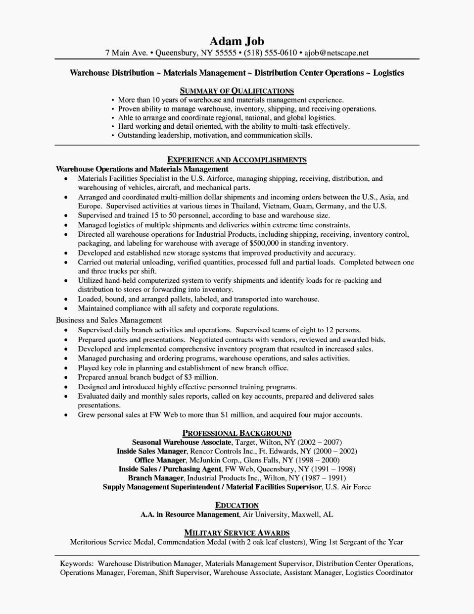 Entry Level Warehouse Resume Resume Template