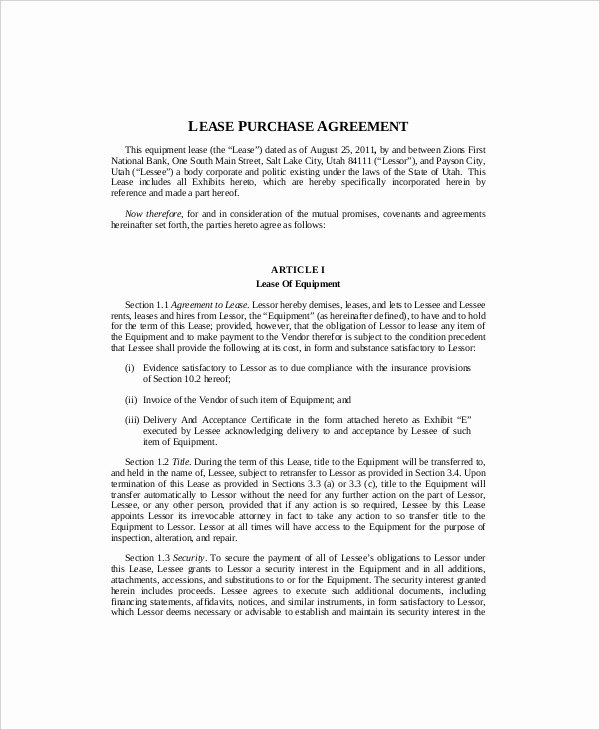 Equipment Lease Template 9 Free Word Pdf Documents
