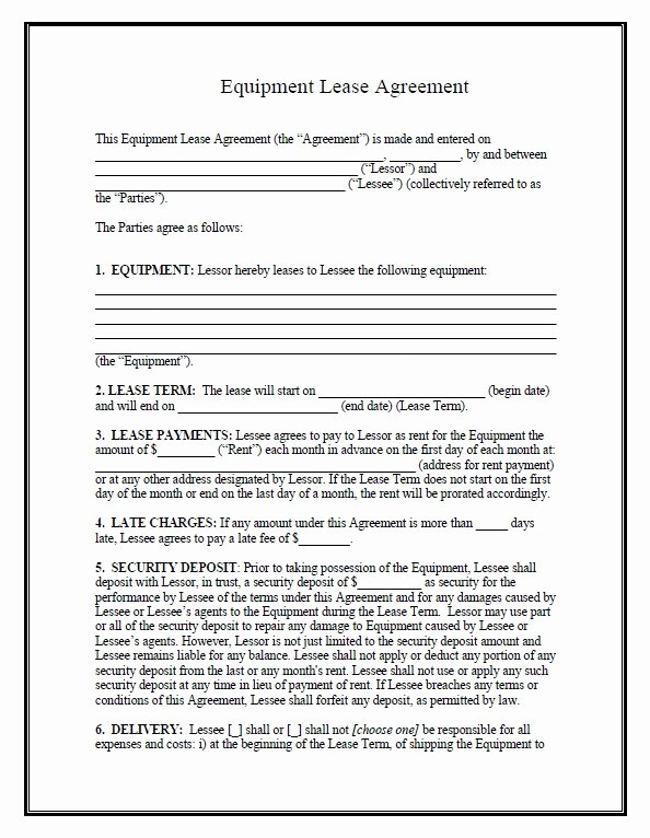 Equipment Lease Template