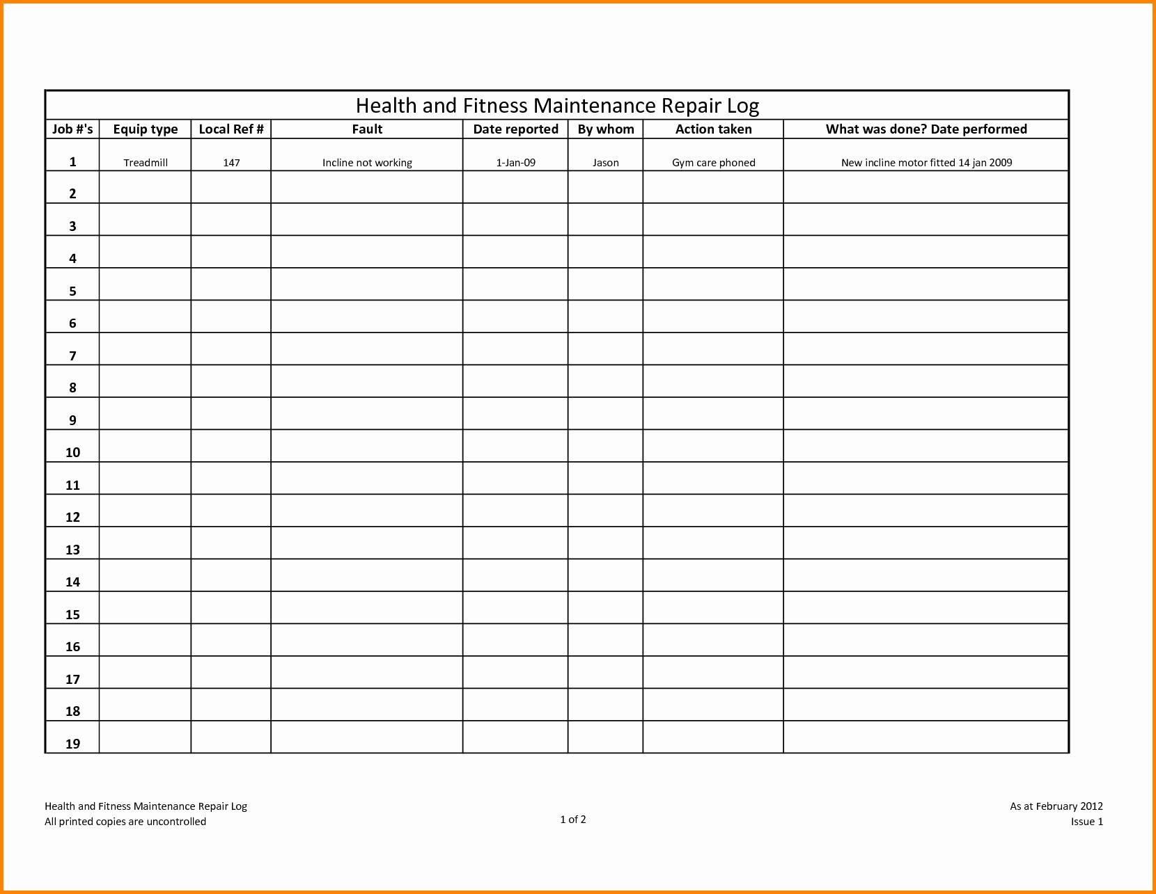 Equipment Maintenance Log Template Filename