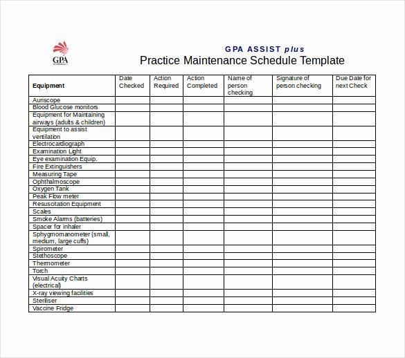 Equipment Maintenance Schedule Template Excel