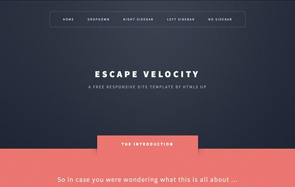 Escape Velocity E Page Responsive HTML5 Template