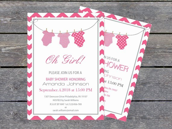 Esie Baby Shower Invitation Template 5 X 7 Pink & Grey