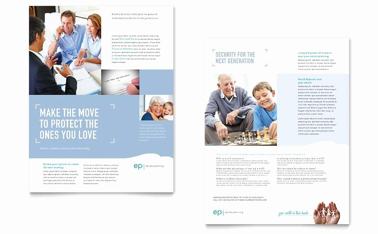 Estate Planning Datasheet Word & Publisher Template