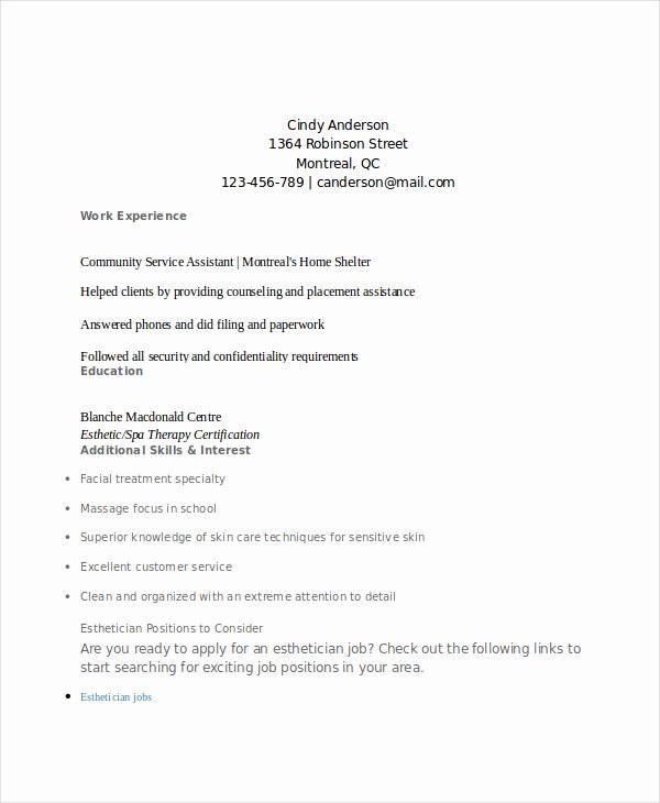 Esthetician Resume Help