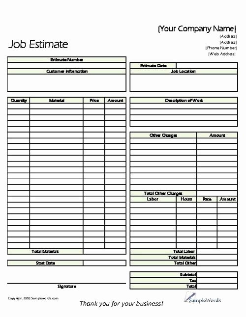Estimate Printable forms & Templates