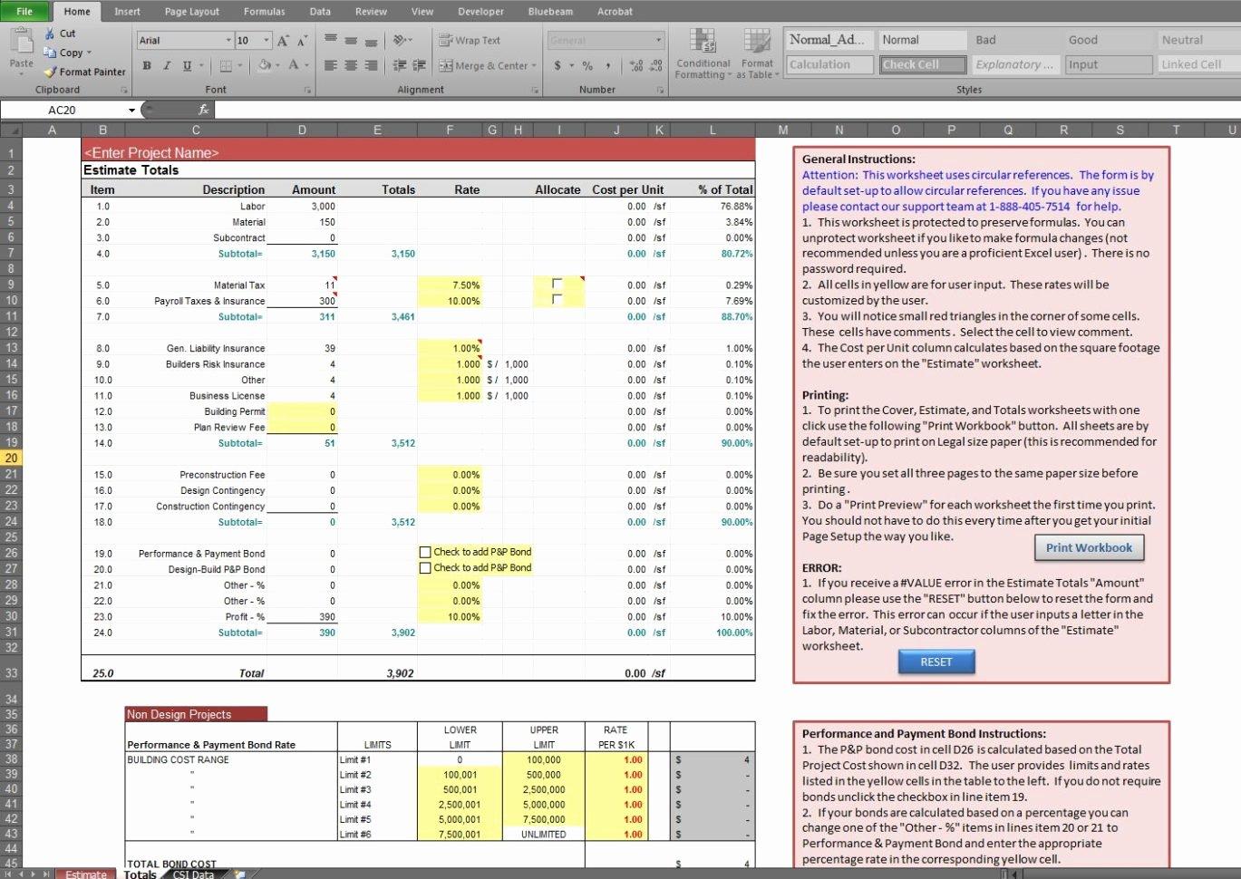 Estimate Spreadsheet Template Estimate Spreadsheet