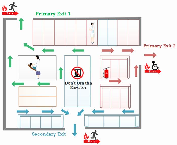 Evacuation Floor Plan for Hospital Emergency