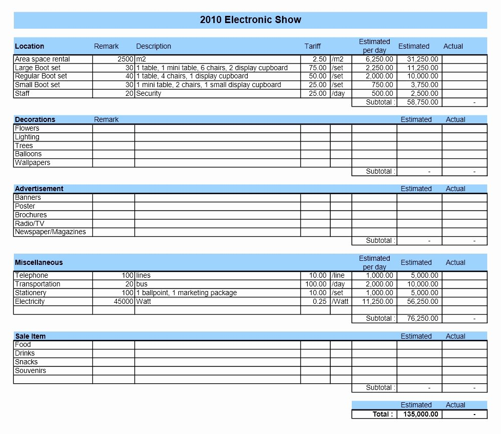 Event Bud Template Excel 2010
