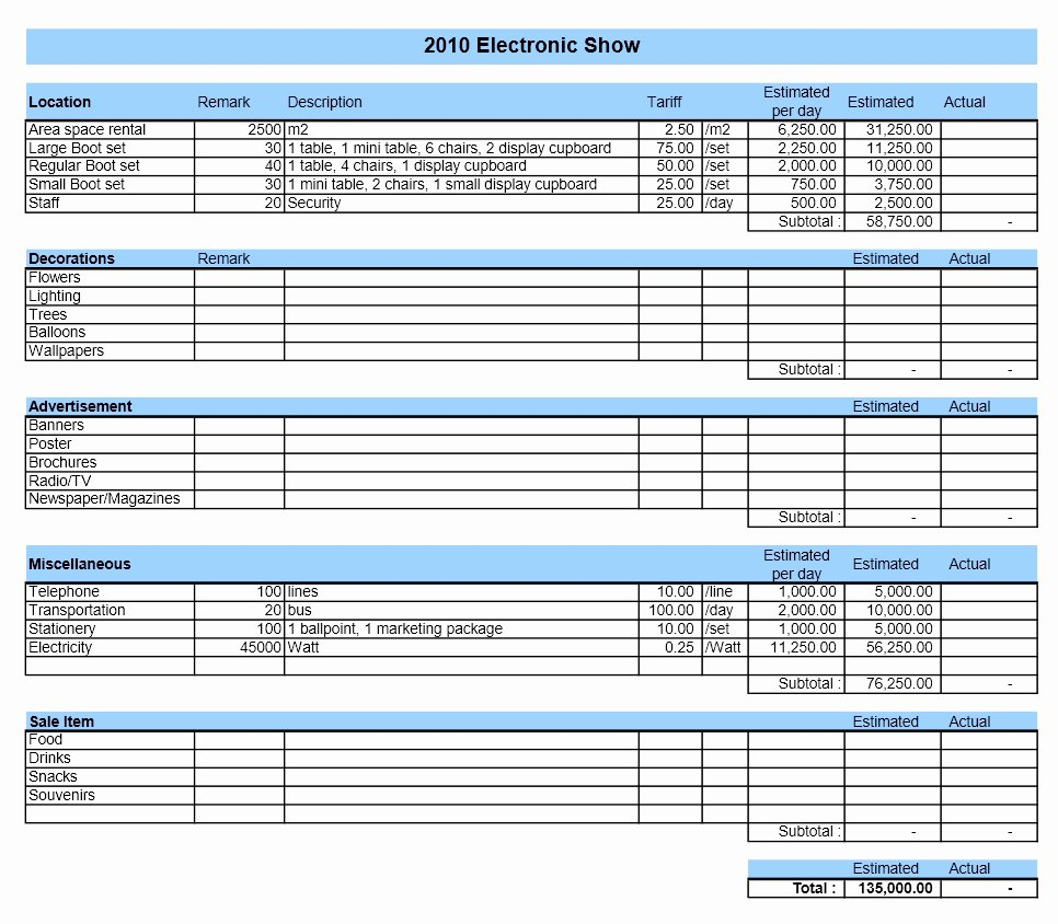 Event Bud Template Excel Templates