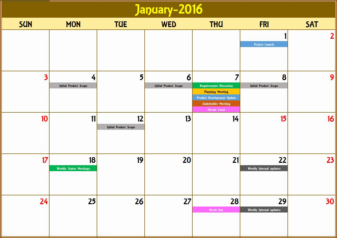 Event Calendar Excel Template