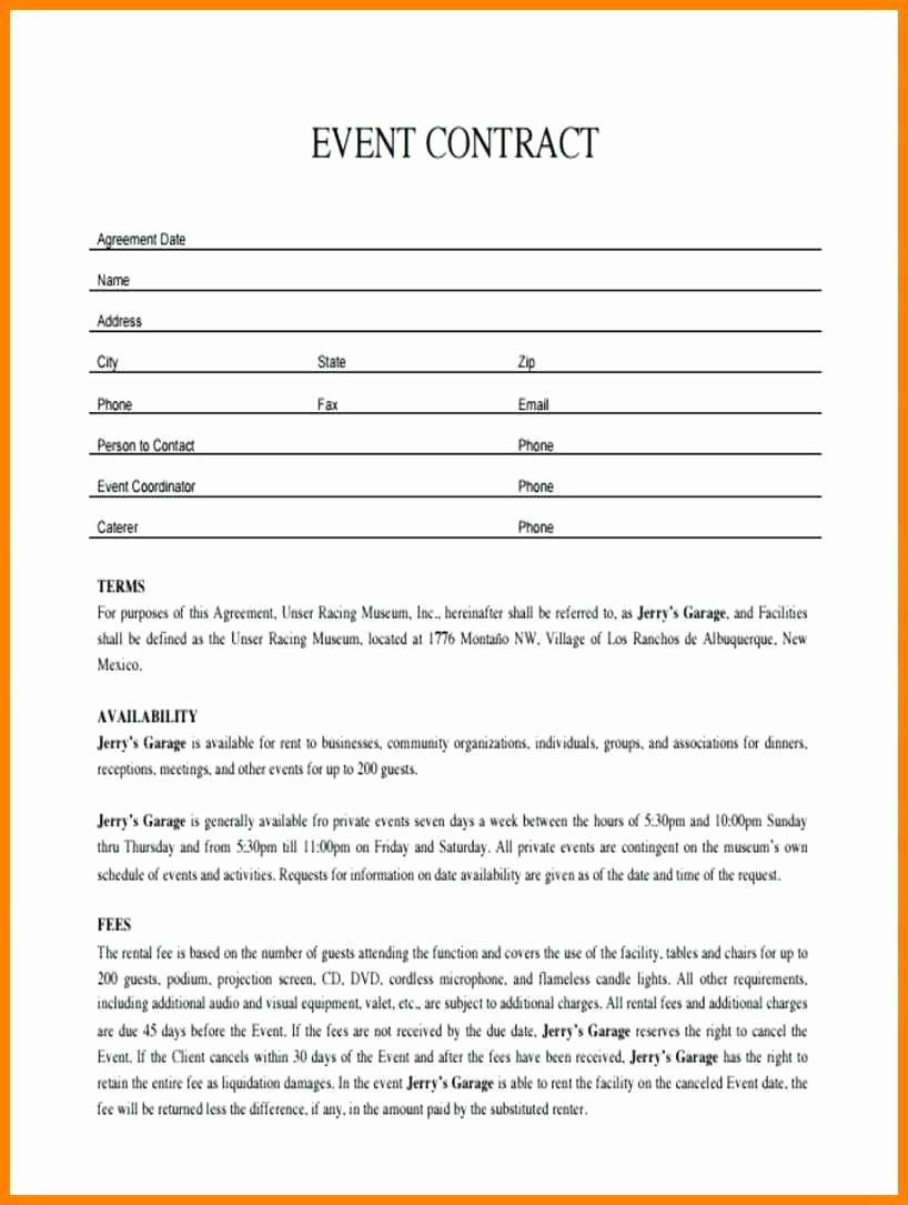 Event Contract Agreement Sample Contracts for event