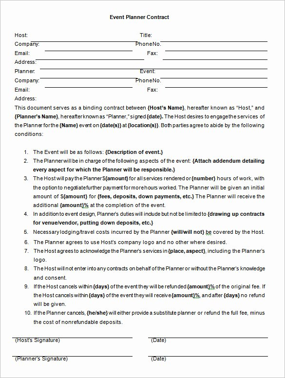Event Contract Template – 14 Free Word Excel Pdf