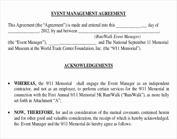 Event Contract Template 19 Word Excel Pdf Documents