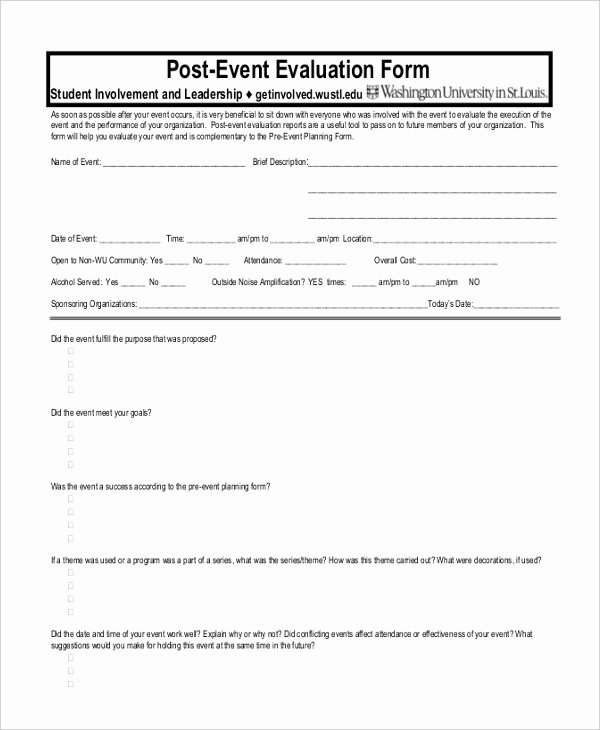 Event Evaluation form Sample