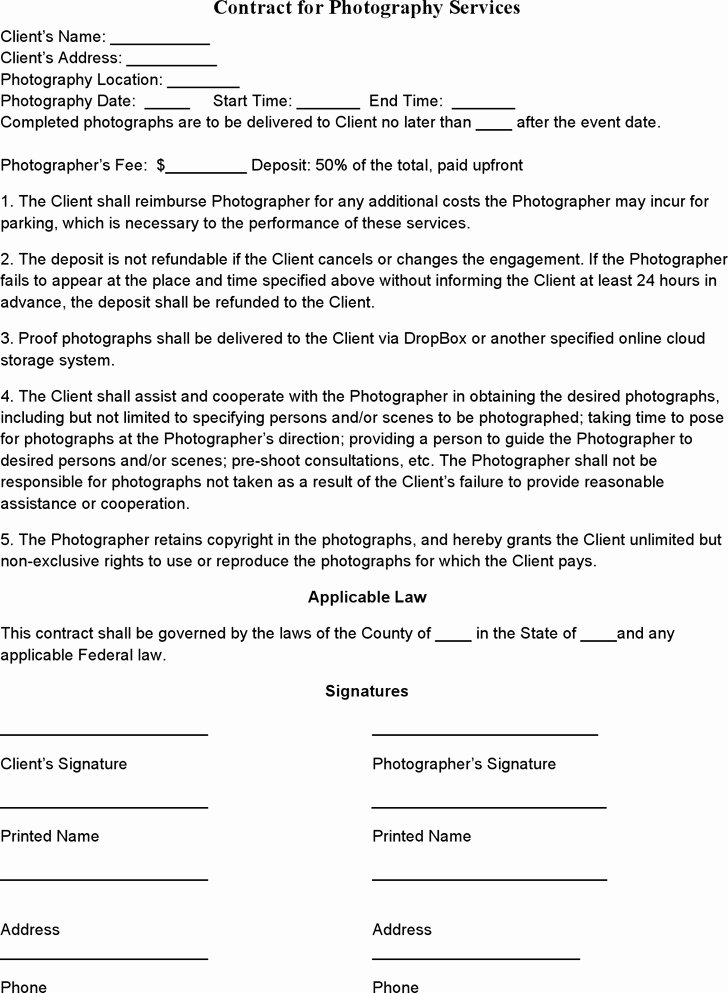 Event Graphy Contract Templates Templates Resume