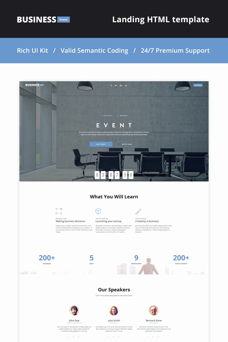 Event Planner Landing Page HTML5 theme