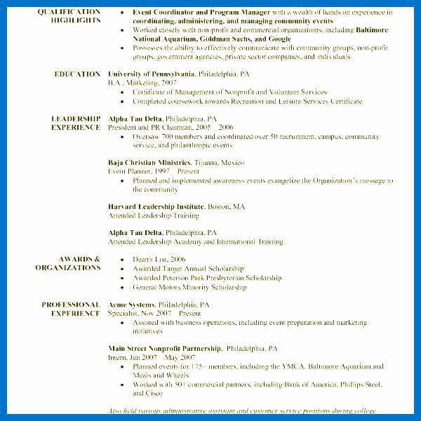 Event Planner Resume event Planning Resume event