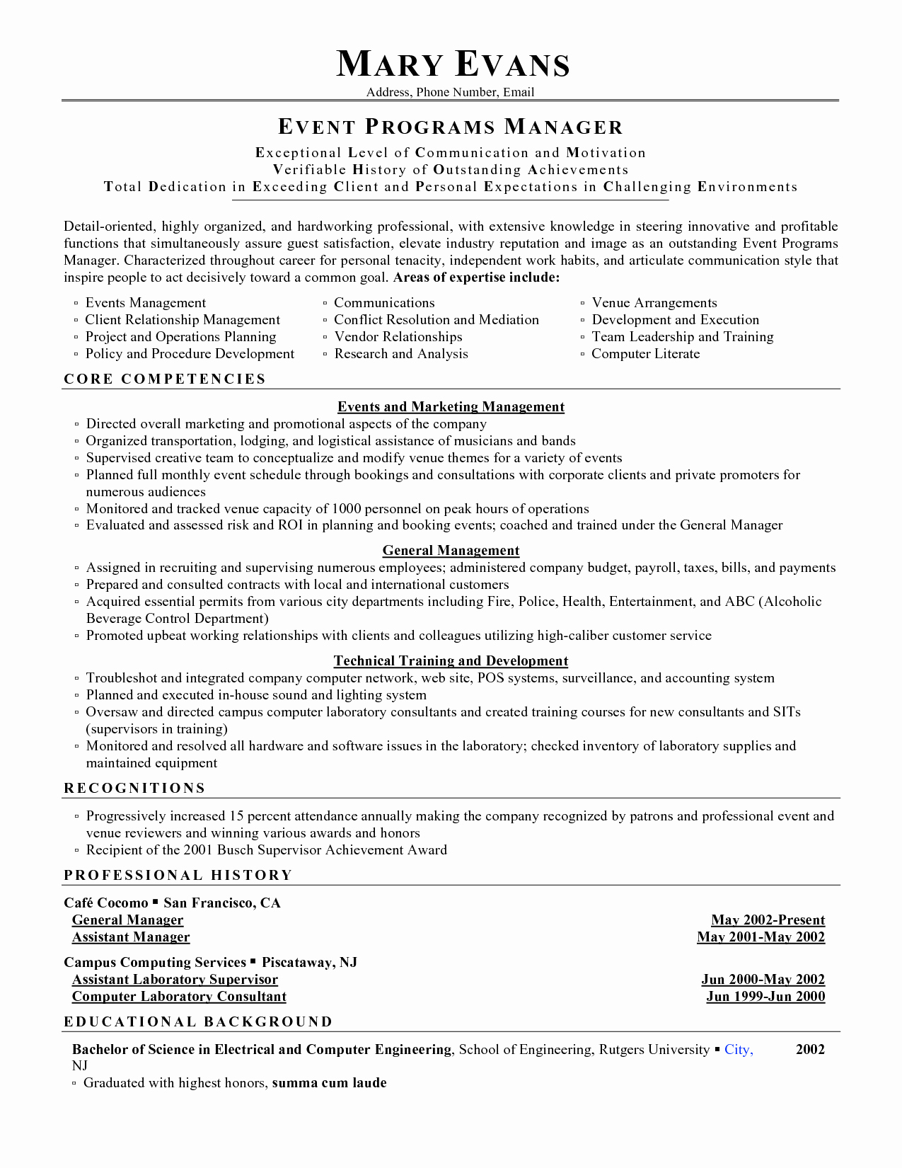 event planner resume objective