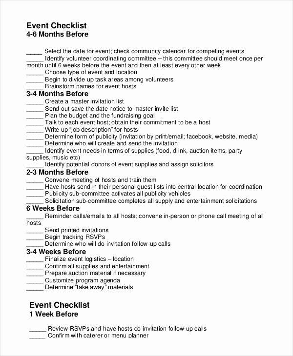 Event Planning Checklist 11 Free Word Pdf Documents