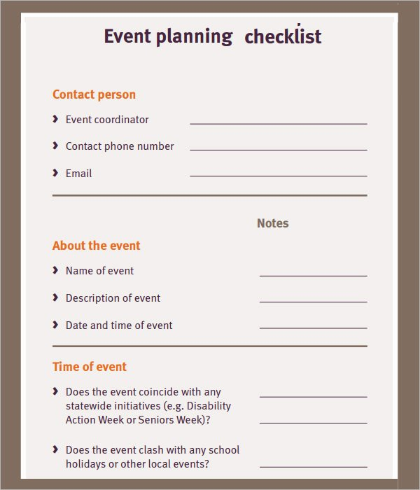 Event Planning Checklist 7 Download Free Documents In Pdf