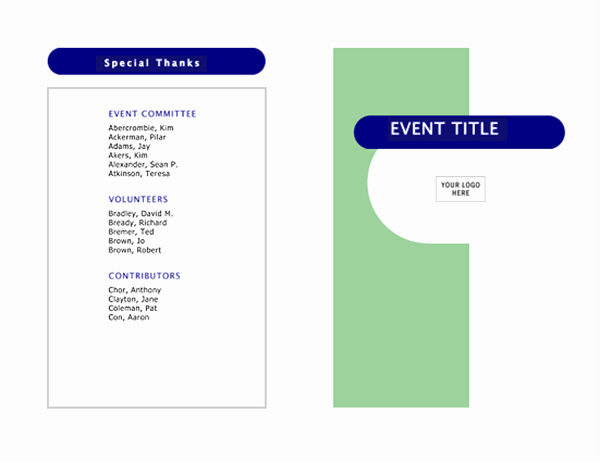 Event Program Half Fold 4 Pages